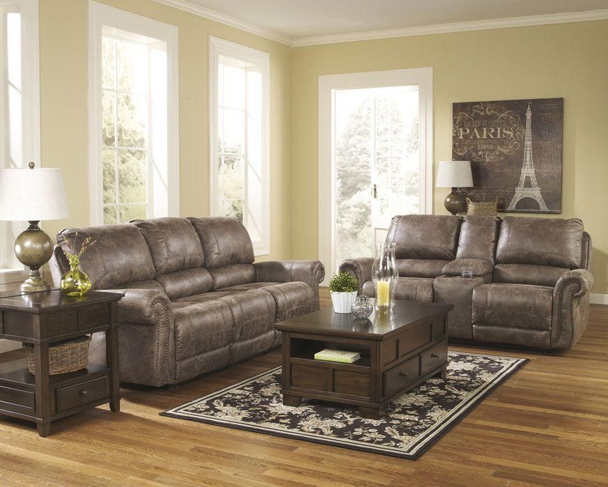 Reclining Sofa Loveseat Set 74100 Sl Oberson Gunsmoke Furniture Factory Direct