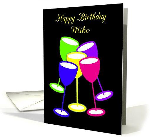 Birthday Custom Name Colourful Toasting Glasses card