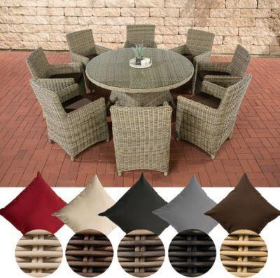 Poly-Rattan Sitzgruppe LARINO XL (8 Sessel + Tisch rund Ø 150 cm