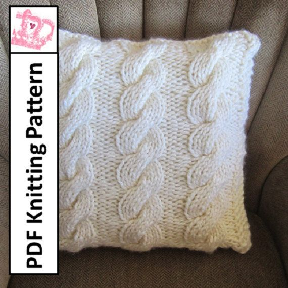 PDF KNITTING PATTERN, Cable knit pillow cover, cable knitting ...