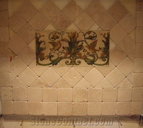 Tumbled Travertino Fiorito Backsplash Wall Tiles Travertino