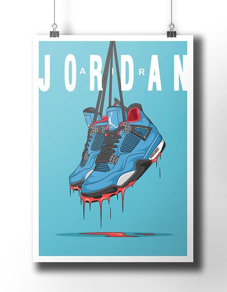 Nike Air Jordan 4 sneaker poster / travis scott / nike trainer ...