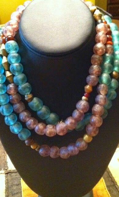 Charcoal Black Recycled Glass Beads 11mm Ghana African Sea Glass Round Handmade