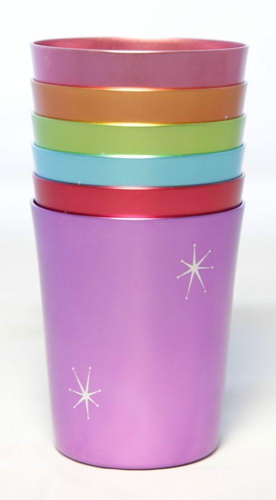Starburst Anodized Aluminium Cups Set 6 Vintage Mugs Tumblers