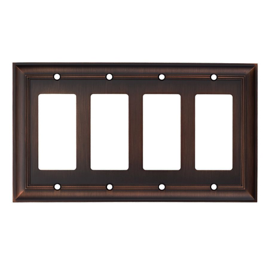 Lowes Wall Plates Shop Allen  Roth 4Gang Oil Rubbed Bronze Decorator Rocker Metal