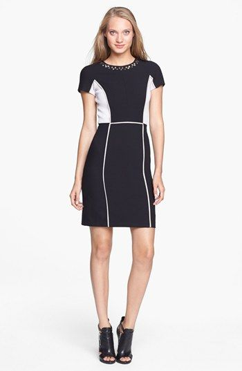 Rebecca Taylor Studded Colorblock Ponte Sheath Dress available at #Nordstrom