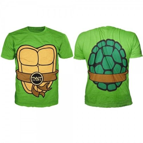 e3ff0d971 TMNT Teenage Mutant Ninja Turtles Costume Shell Adult MEN'S Green TEE T  Shirt | eBay