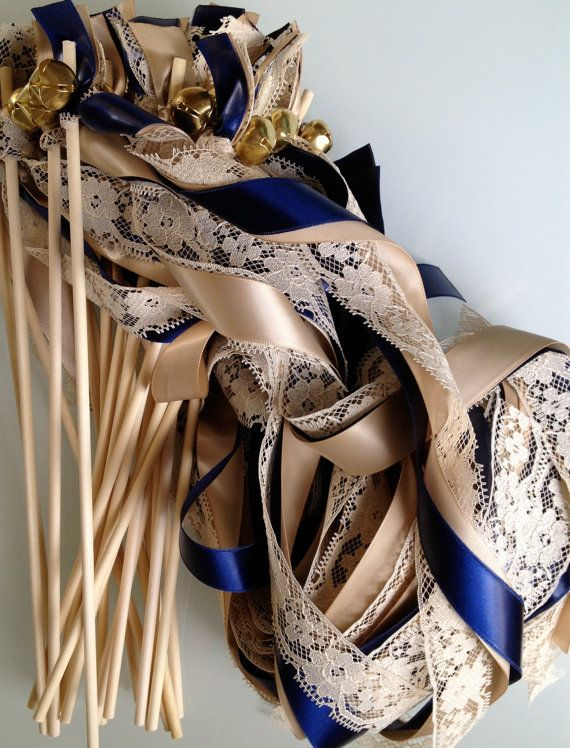 75 Wedding Wands Lace Ribbon Bells Streamers by craftupyourlife, $99.00