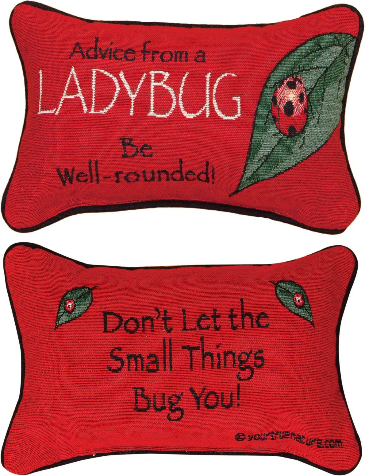 Advice From A Lady Bug Word Lumbar Pillow Ladybug Pillow Word Pillow Ladybug