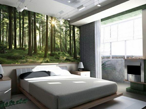 modern schlafzimmer wandgestaltung gestalten wald inspiration bett ...