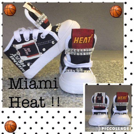 b6aa940432cd66 Boys Bling Hi Tops Boys Custom Sneakers  Boys Hi Tops Boys Miami Heat Boys  Sneakers Boys Bling Sneakers Basketball Kicks Miami Heat Shoes