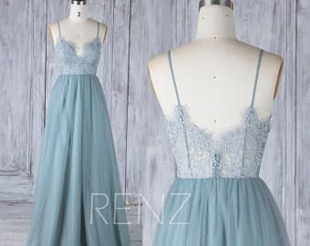 Bridesmaid Dress Dusty Blue Tulle Dress Illusion Prom Dress V Neck Maxi Dress Open Back Lace Wedding Dress Sleeveless Evening Dress (LS390)