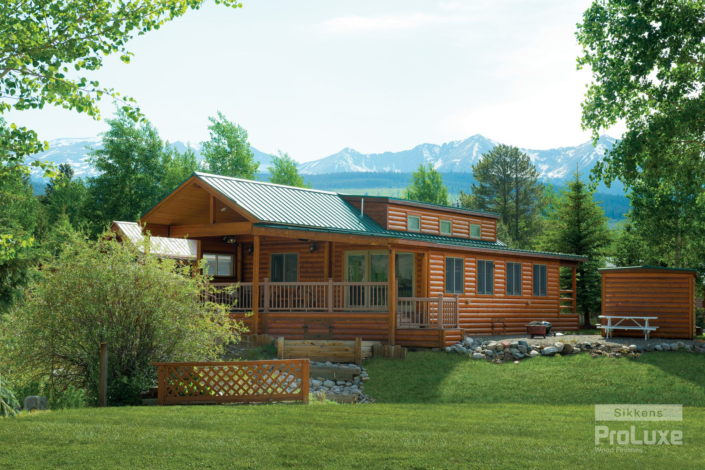 This rustic log cabin features sikkens proluxe cetol How to stain log cabin