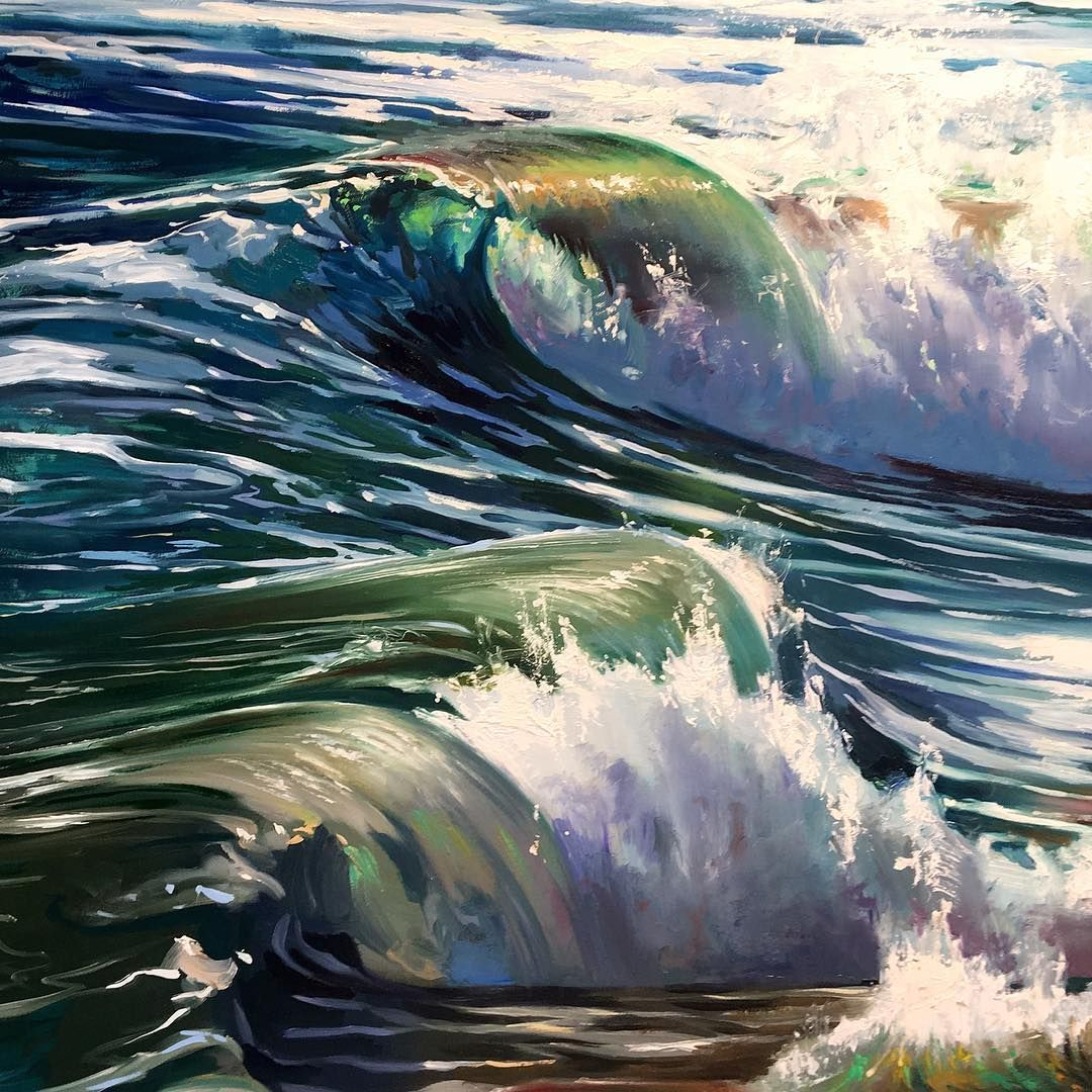More Shore Break 20x20 Oil On Board Close To Finished