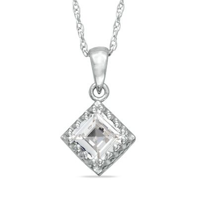 Zales 7.0mm Princess-Cut Lab-Created Ruby and White Sapphire Pendant in Sterling Silver HZgiyd