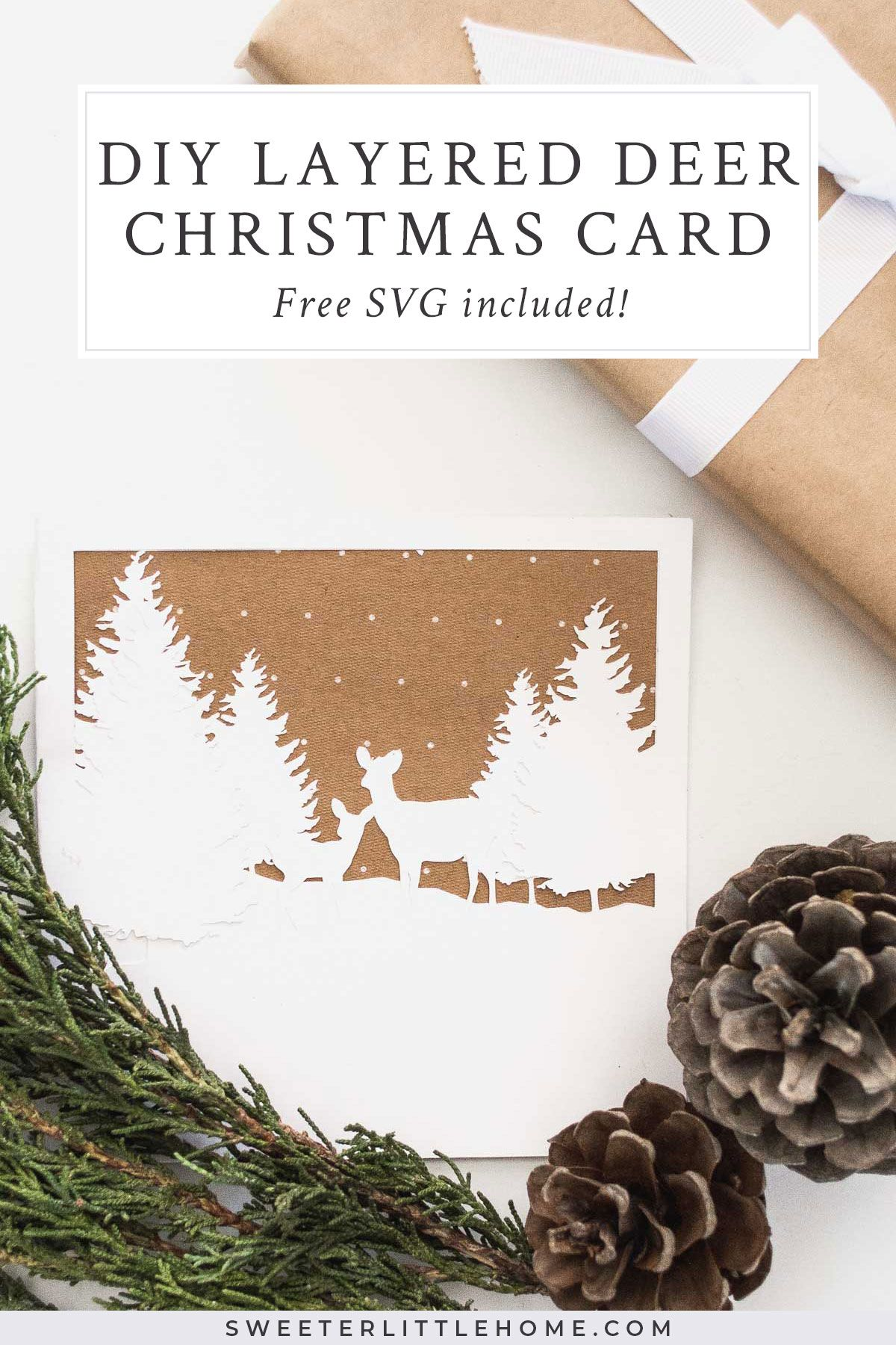 Deer Christmas Card Free SVG included! Cricut