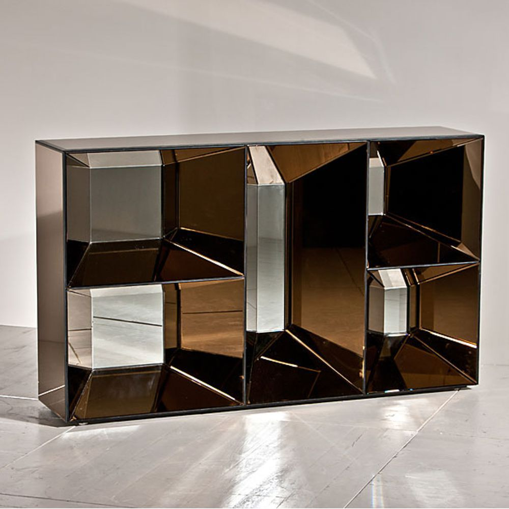 Consola con acabado de espejos en gris ahumado medias for Espejos para consolas