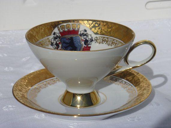 Berlin Coat of Arms Kronach O C A Kunst Bavarian Cup and Saucer Tea Coffee