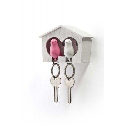 Porte-clés maison oiseaux rose