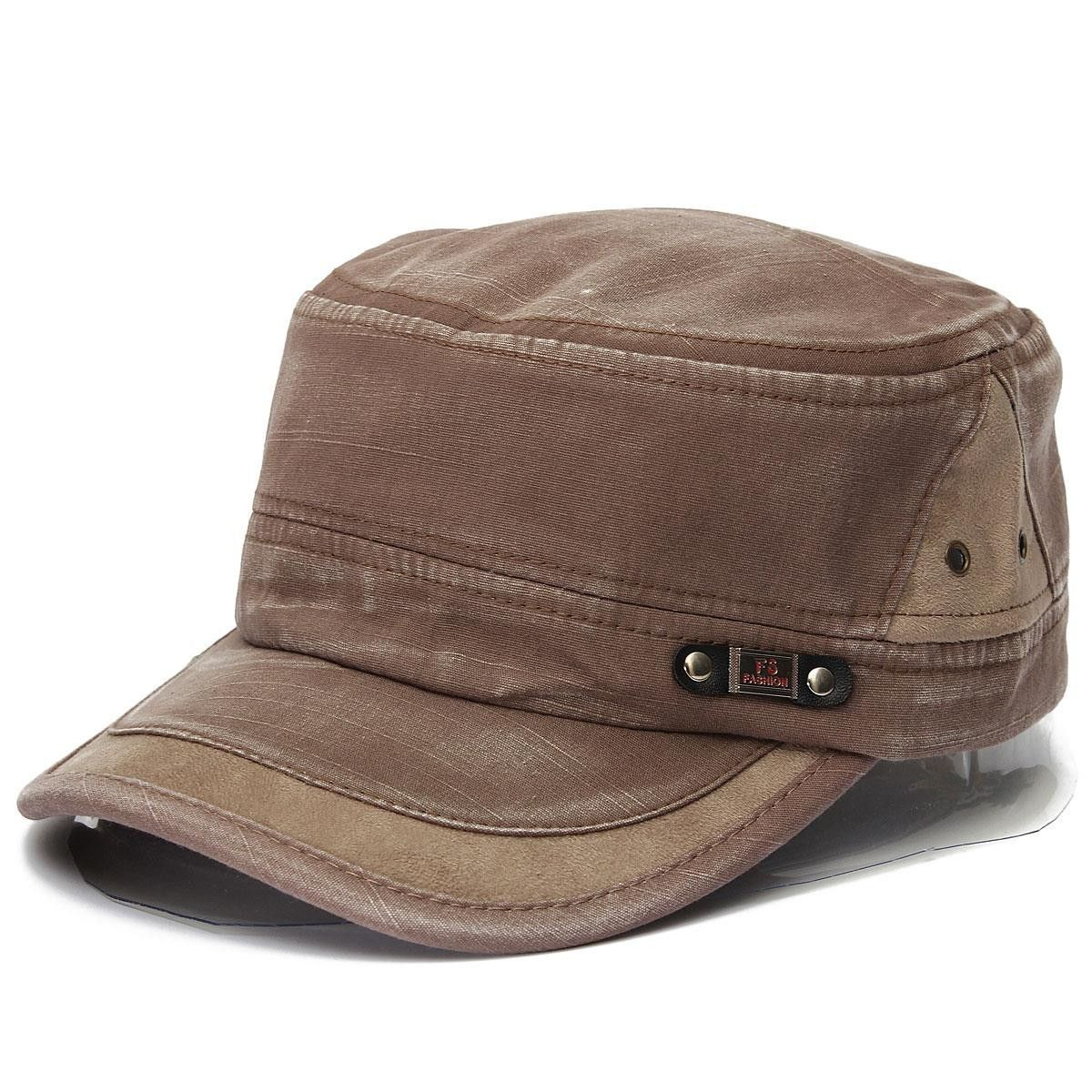 Unisex Vintage Military Washed Cadet Cap Hat Army Castro Plain Flat Baseball