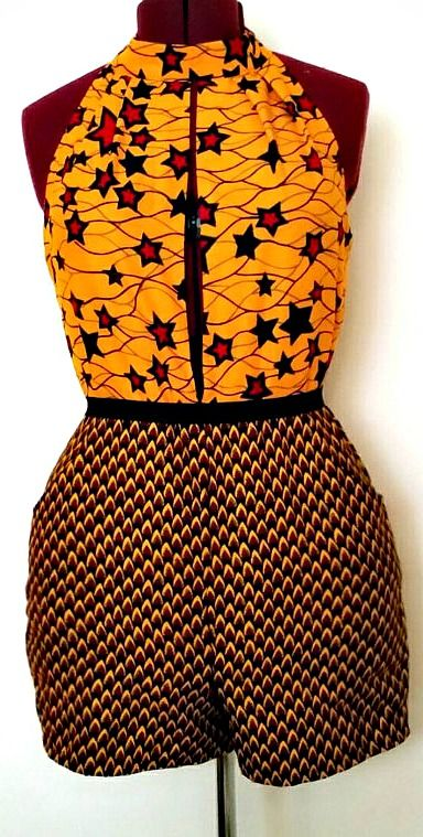 African Clothing: Sia Romper/Jumpsuit. This colorful romper with a plunging neckline will have you standing out at any party. Ankara | Dutch wax | Kente | Kitenge | Dashiki | African print bomber jacket | African fashion | Ankara bomber jacket | African prints | Nigerian style | Ghanaian fashion | Senegal fashion | Kenya fashion | Nigerian fashion | Ankara crop top (affiliate)
