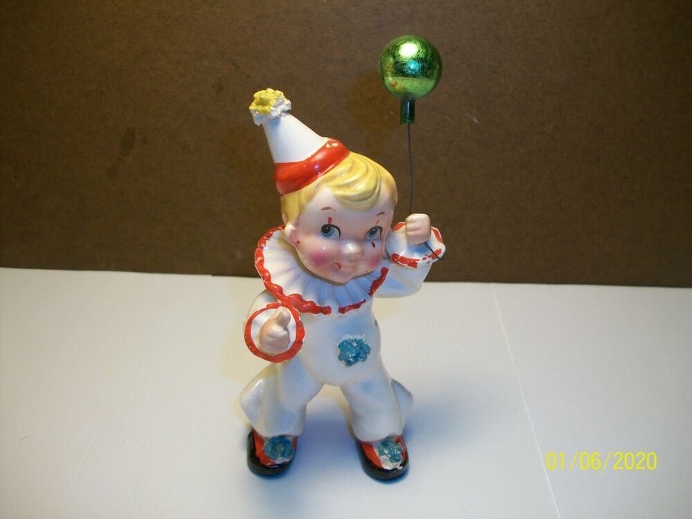 Details About Vintage Kreiss Boy Wearing Clown Suit With Balloon Ceramic Figurine Japan 1956 In 2020 Ceramic Figurines Handmade Ceramics Clown Suit