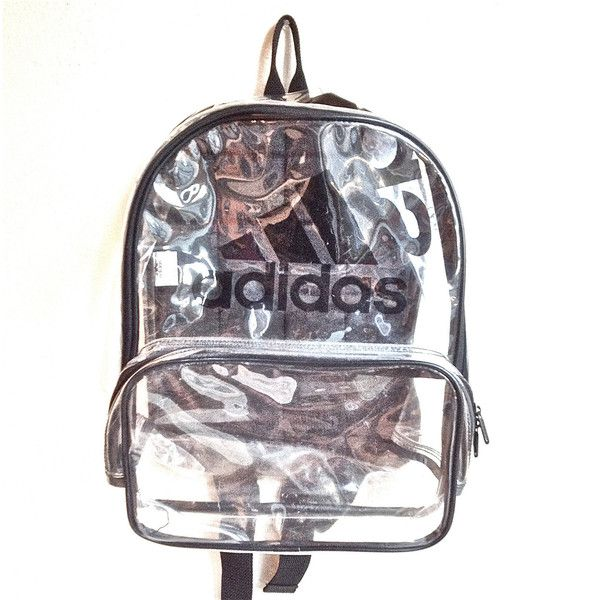 ae9b282725f 90 s Clear Adidas Large PVC See Through Backpack ( 128) ❤ liked on Polyvore
