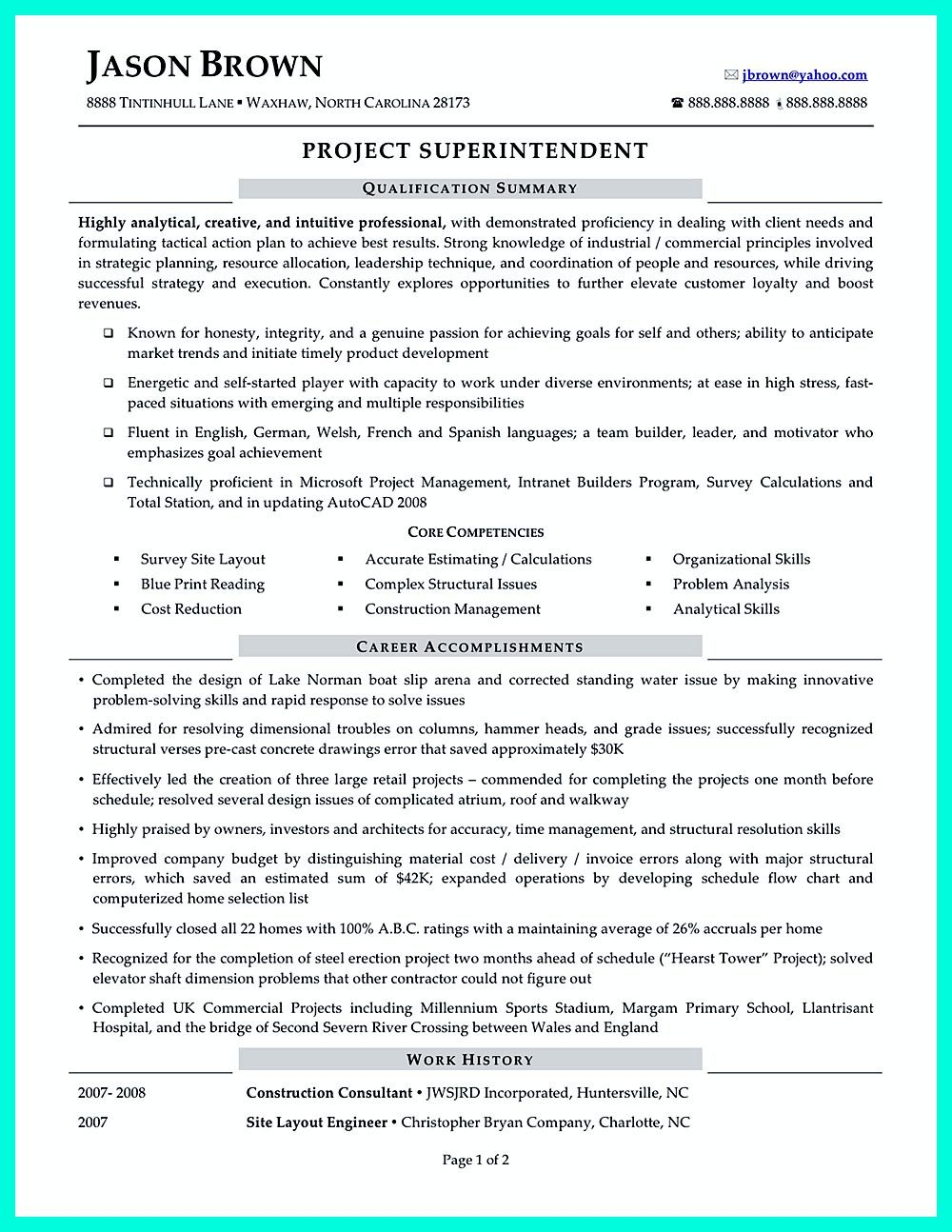 Construction manager resume can be designed for a