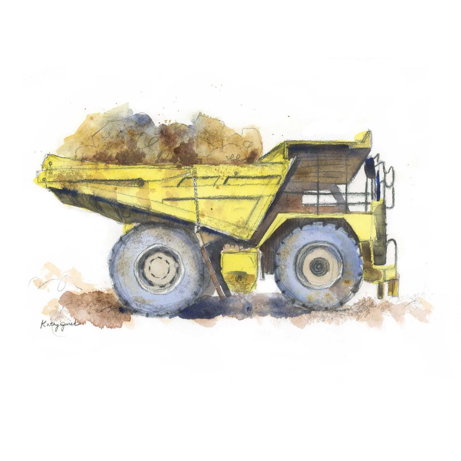 Yellow Dump Truck Children\'s Wall Art Print Kids Dump Truck Wall Art ...