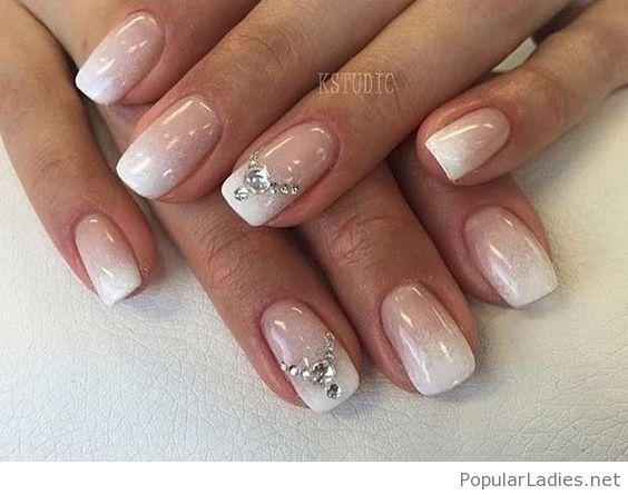 Simple Ombre Nails With Diamonds Wedding Design Manicure