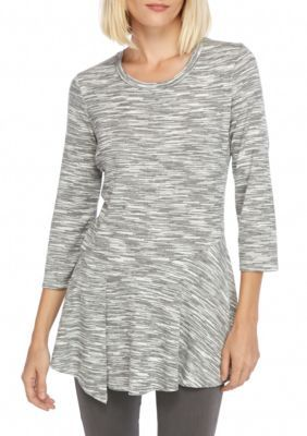 New Directions Grey Lace Back Space Dye Top