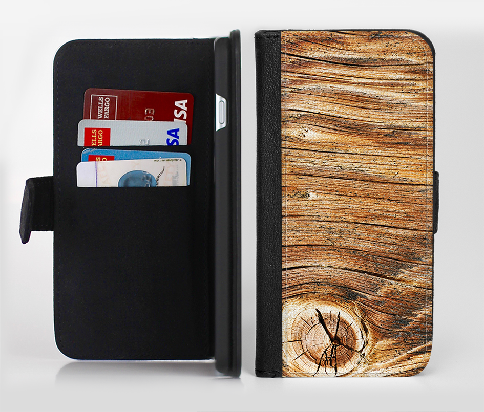 The Knobby Raw Wood Ink-Fuzed Leather Folding Wallet Credit-Card Case for the Apple iPhone 6/6s, 6/6s Plus, 5/5s and 5c from DesignSkinz