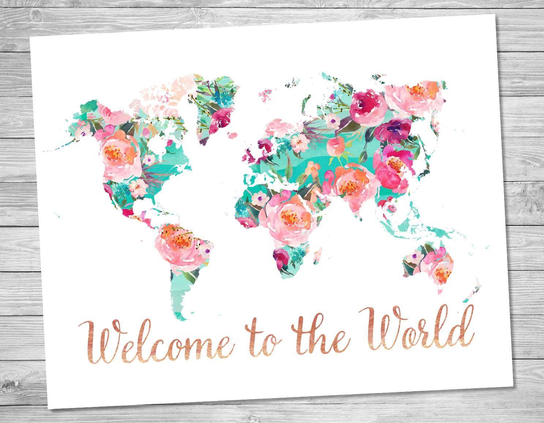 carte du monde art design Carte du monde Bienvenue dans le monde Art imprimable Floral