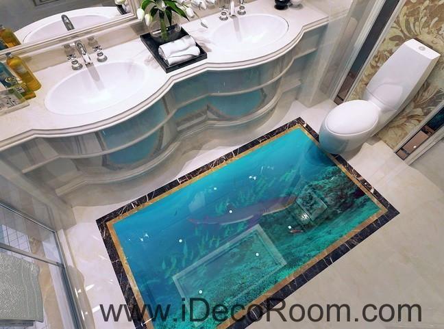 Shark Under the Sea Fish 00019 Floor Decals 3D Wallpaper Wall Mural Stickers  Print Art Bathroom