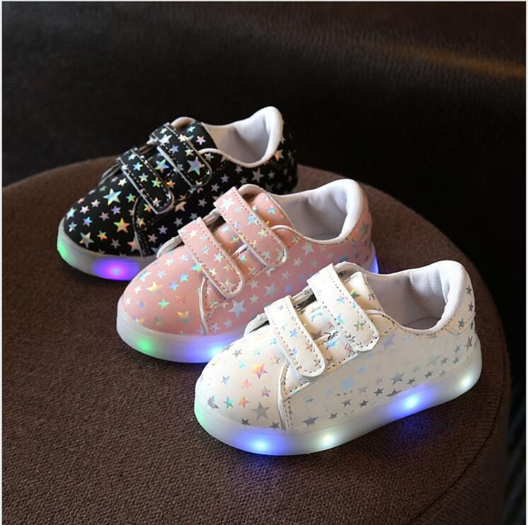 75e948bef0d55 Kids Shoes With Light Tenis Led Infantil New Stars Print Fashion Sport  Lighting Led Shoes Kids Children Glowing Shoes Size 21-30