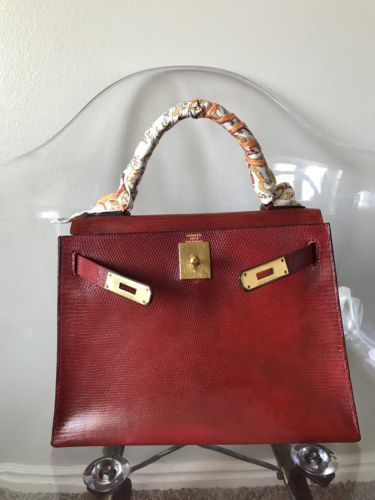 Authentic HERMES Lizard Kelly Sellier 28 Bordeaux Red Vintage Exotic ... 6adb82e6cf5dc