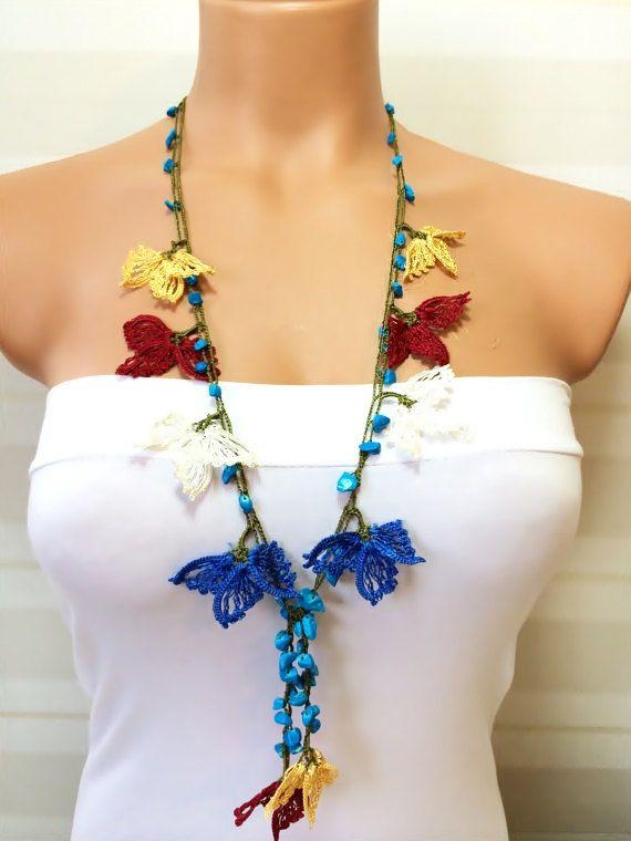 Crochet Beaded Work Strand NecklaceBeaded Handmade by NinnisGift, $17.00