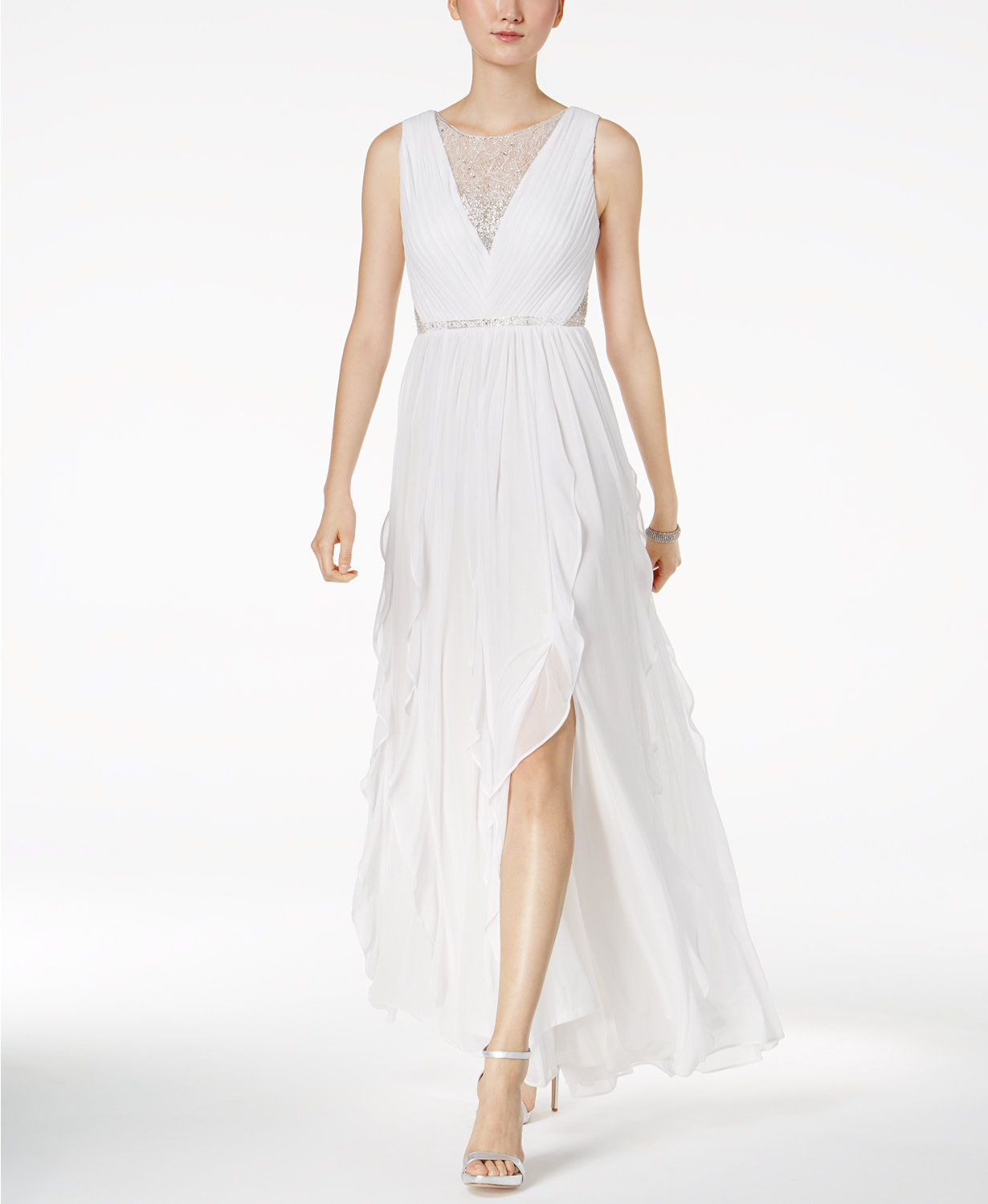 Adrianna Papell Illusion Embellished A-Line Gown | macys.com ...