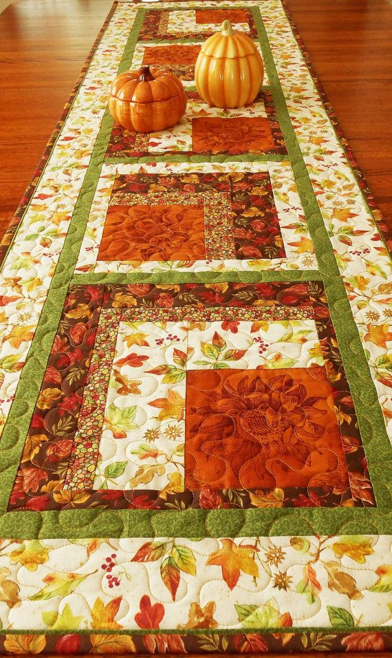 Quilted Autumn Table Runner Fall Leaves And Sunflowers
