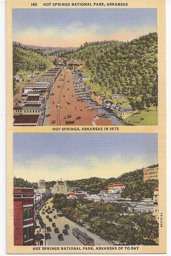 """Hot Springs National Park Arkansas - then, 1875 and """"today"""" (vintage)"""
