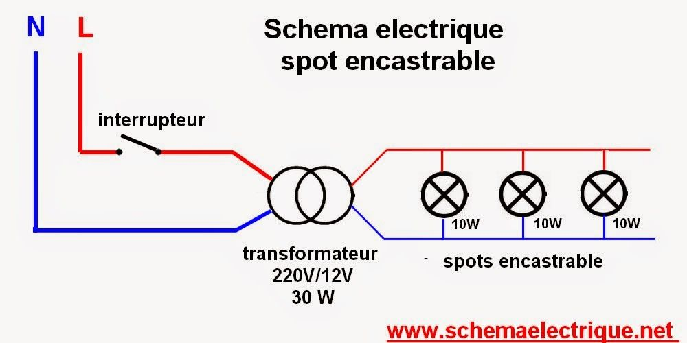 installation spot encastrable schema branchement cablage led