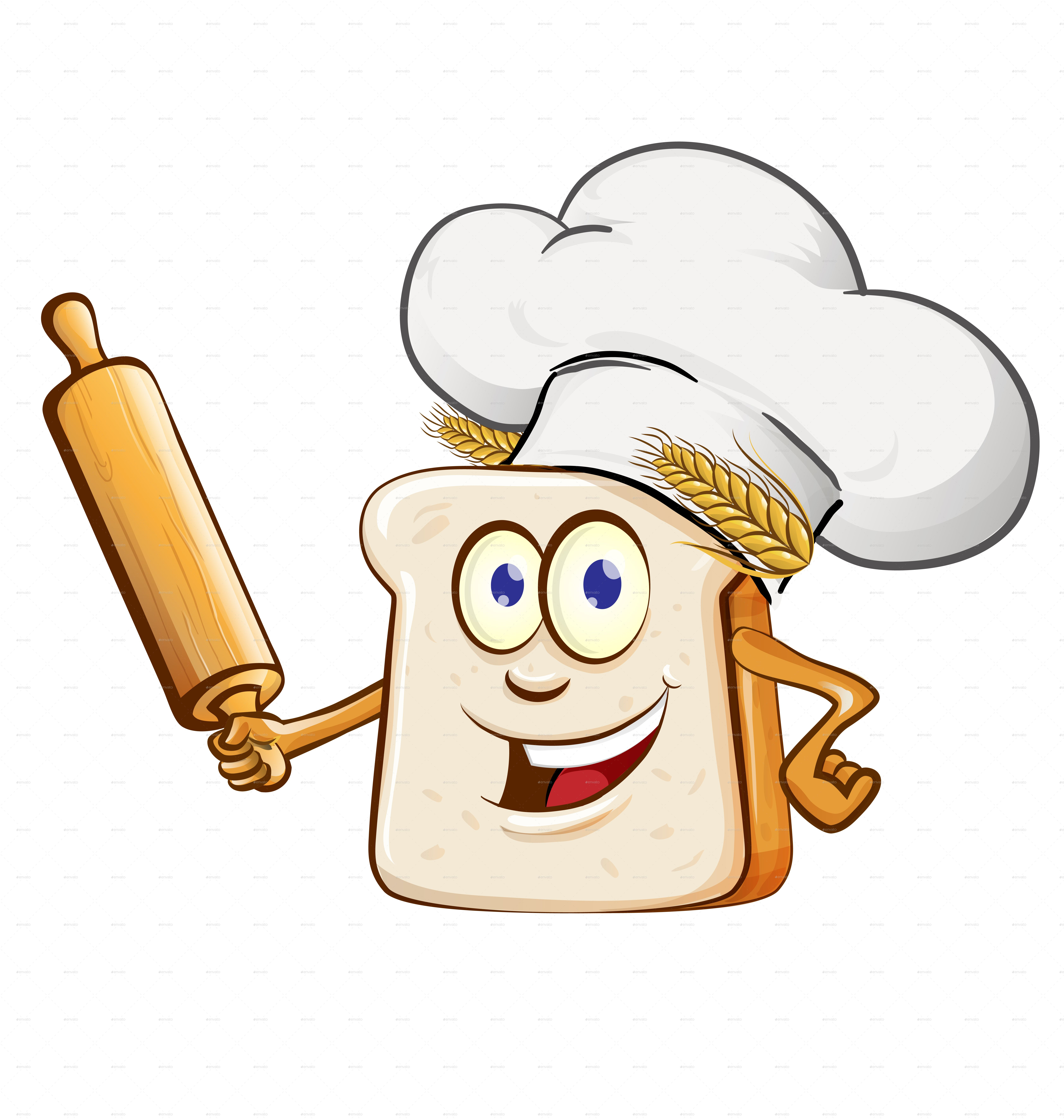 Bread Chef With Rolling Pin And Food Element Cartoon Cartoon Cartoons Vector Free Business Card Templates