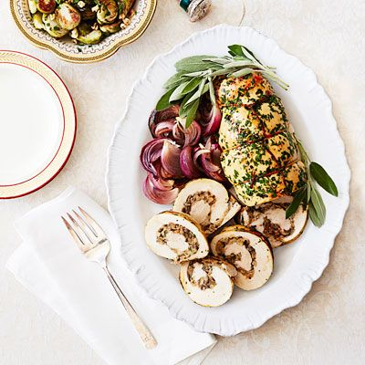 caramelized onion stuffed turkey roulade recipe myplate in season pinterest mushrooms onions and main dishes