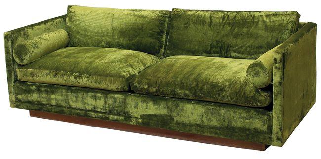 Vintage Milo Baughman Sofa 1960s Original Green Crushed Velvet Upholstery With Down Filled Cushions Green Velvet Sofa Velvet Furniture Green Sofa