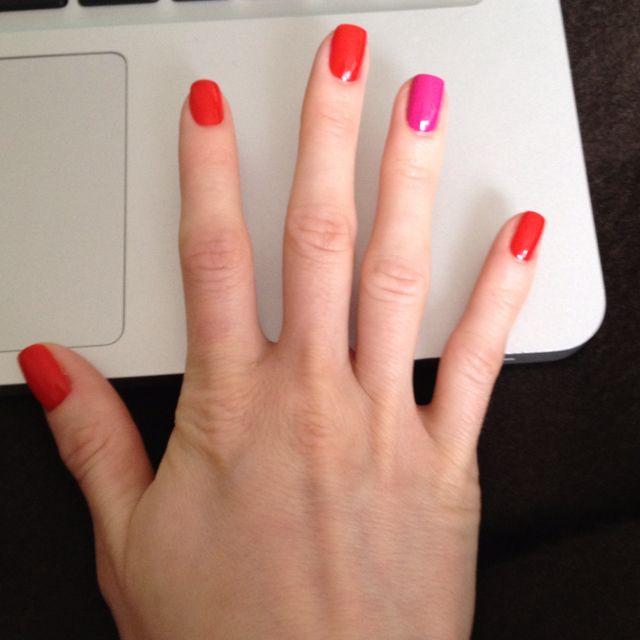 Mini fiesta on my nails in honor of Cinco de Mayo! The orange color ...