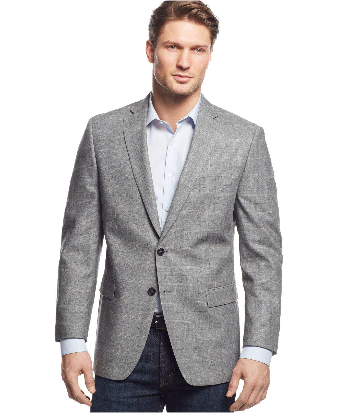 Calvin Klein Grey Windowpane Slim-Fit Sport Coat - Blazers & Sport Coats -  Men