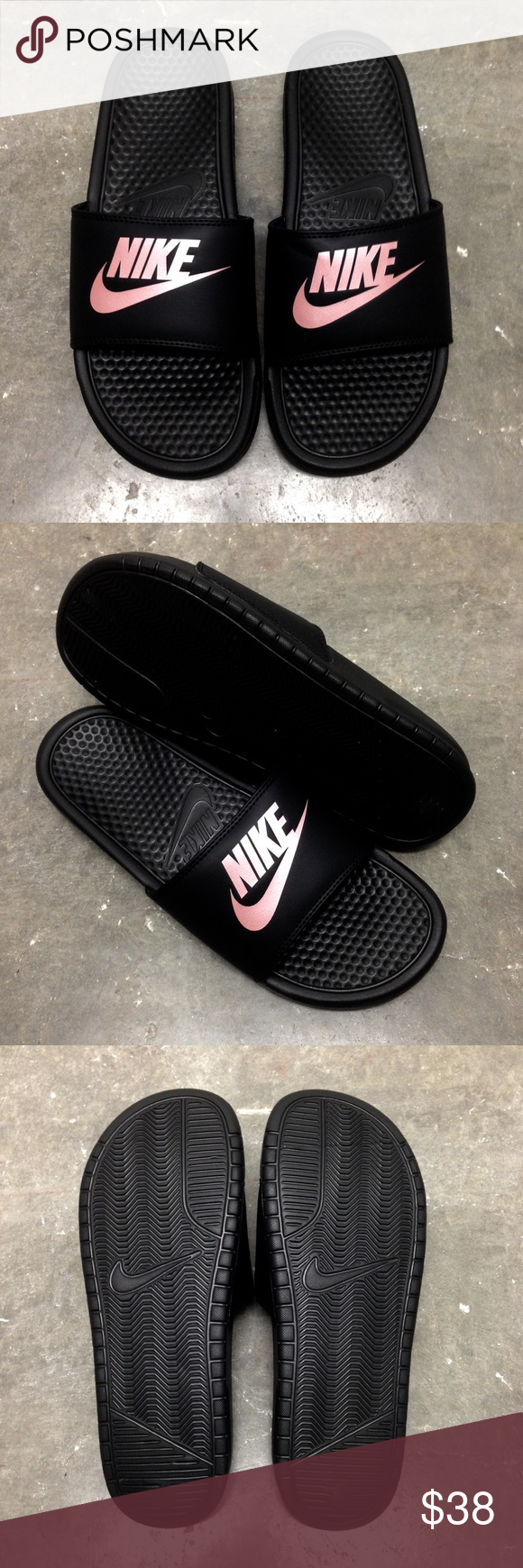 cc1e1da862d87 WMNS NIKE BENASSI SLIDES JUST DO IT JDI BLACK ROSE Women Nike Benassi
