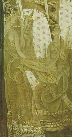 Ancient Time II - Gu Ying Qing   Chinese ink and color on rice paper (Contemporaneo)