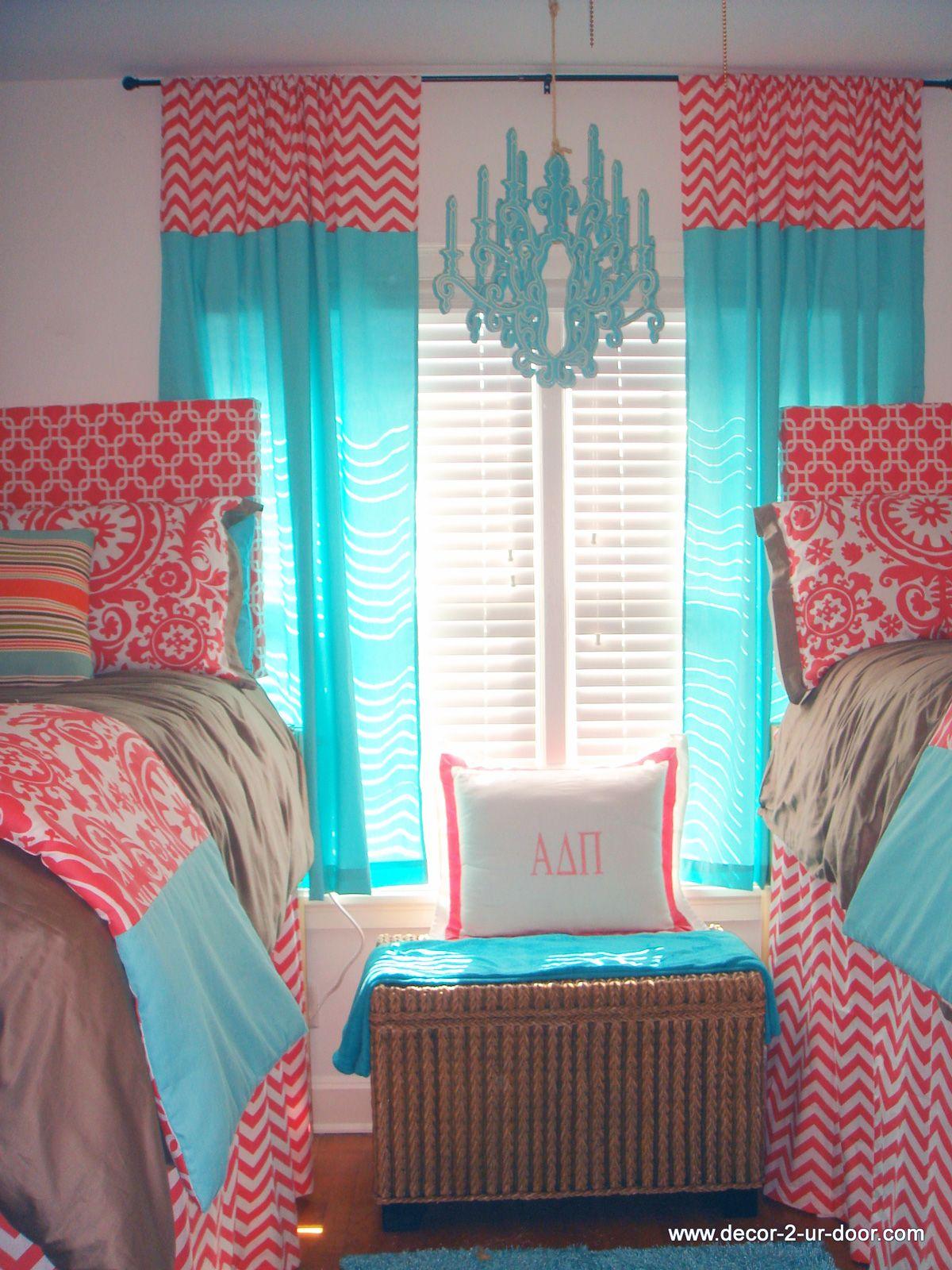 Sorority house tours room coral and tiffany blue dorm decor dorm
