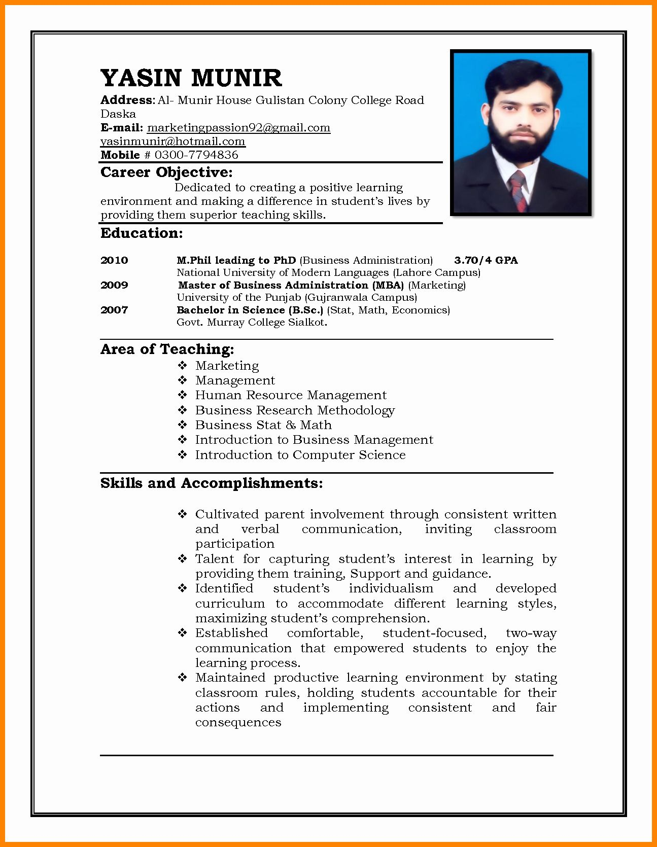 30 Format For Curriculum Vitae In 2020 With Images Job Resume Format Teaching Resume Job Resume